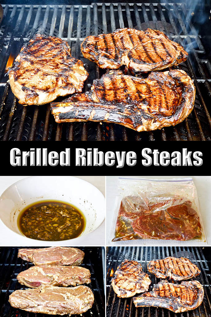Tender and flavorful Grilled Ribeye Steaks in homemade marinade with red wine, Worcestershire sauce, olive oil, pepper, and mustard. | RotiNRice.com