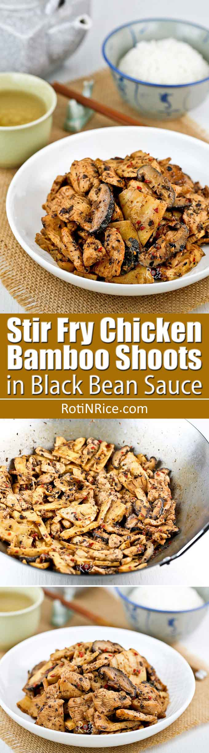 This tasty Stir Fry Chicken Bamboo Shoots in Black Bean Sauce has a bold umami flavor, best savored with a steaming bowl of white rice. | RotiNRice.com