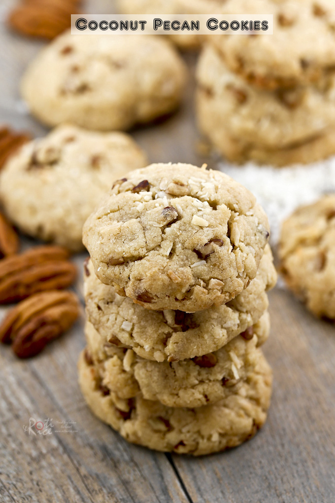 The fragrance and combination of flavors in these Coconut Pecan Cookies are sure to please. Perfect for tea time or the holidays. | RotiNRice.com
