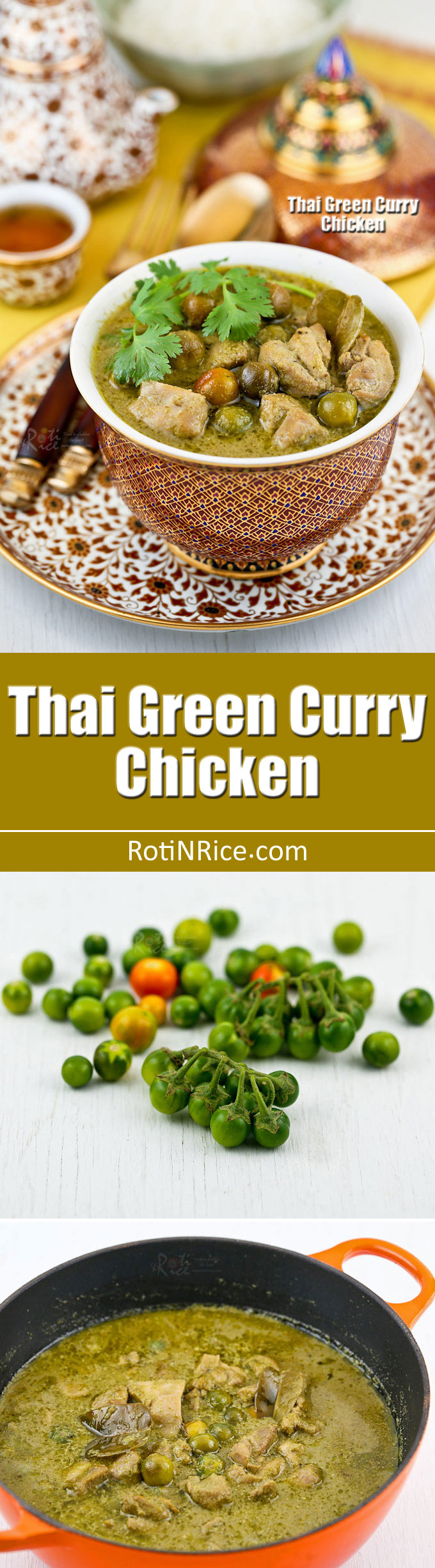 Make your own fragrant green curry spice paste from scratch for this Thai Green Curry Chicken with pea eggplants. So delicious with steamed Jasmine rice. | RotiNRice.com