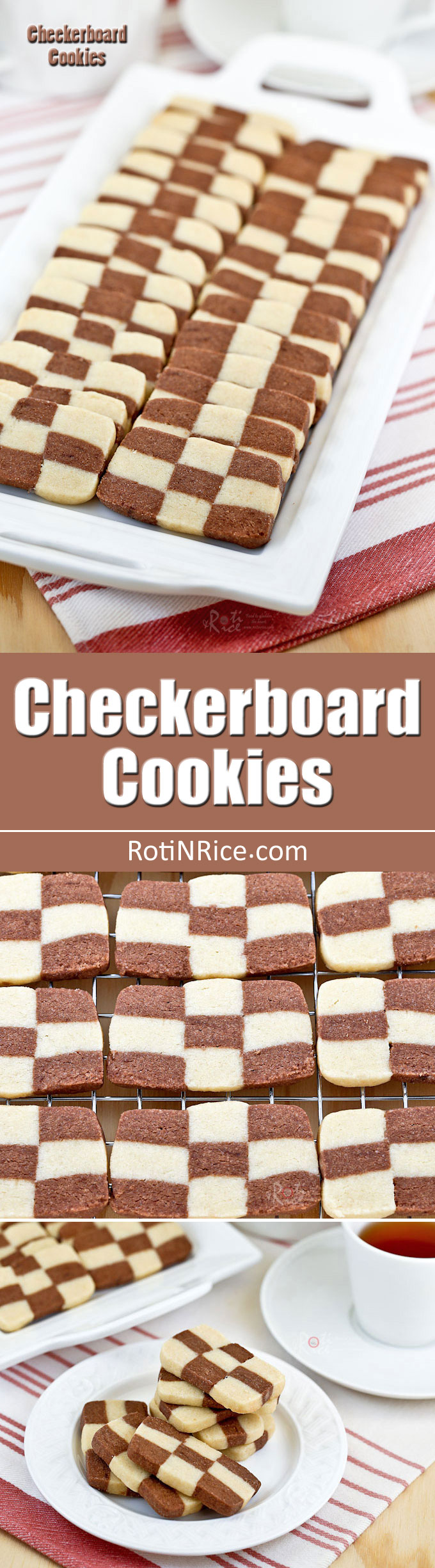 These egg free vanilla and chocolate flavored Checkerboard Cookies are light and buttery. They are perfect for tea time or special occasions. | RotiNRice.com