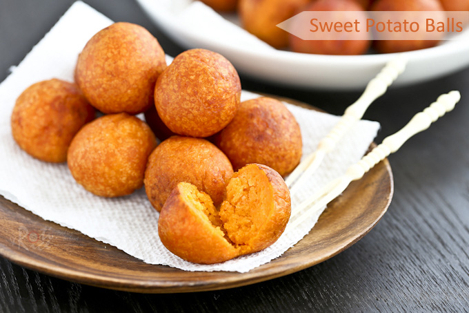 few simple ingredients used in these gluten free Sweet Potato Balls ...