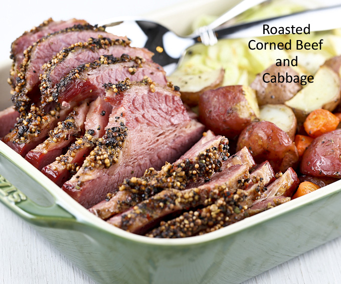 This slow Roasted Corned Beef and Cabbage is totally worth the time to prepare it. Delicious served with baked potatoes, carrots, and pan fried cabbage wedges. | RotiNRice.com