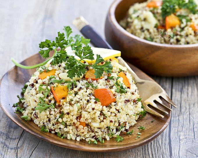 Quinoa Salad with Kabocha and Roasted Garlic