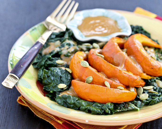 Kabocha Kale Salad with Miso Butter Sauce