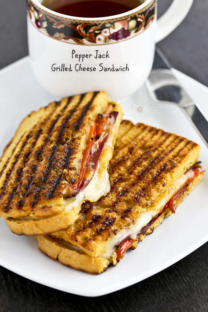 A little sweet and spicy Pepper Jack Grilled Cheese Sandwich with pastrami and roasted sweet mini peppers. So deliciously satisfying! | RotiNRice.com