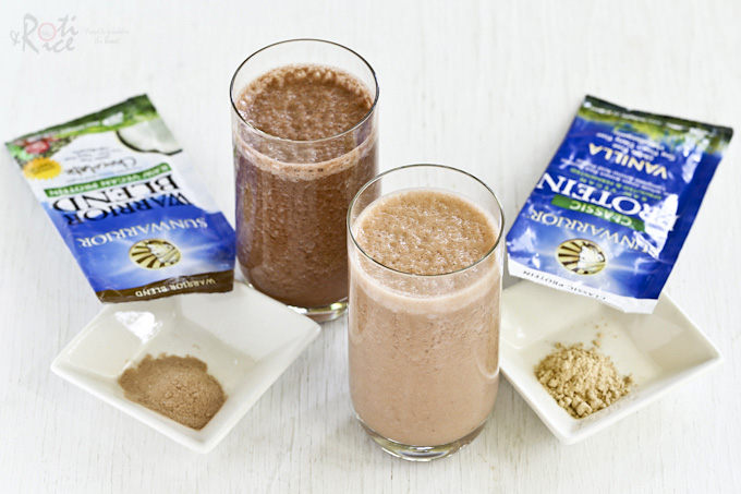 Quick and healthy Strawberry Banana Protein Shake with your choice of chocolate or vanilla protein powder. It is thick, creamy, delicious, and satisfying. | Food to gladden the heart at RotiNRice.com