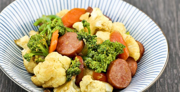 Broccoli, Cauliflower, and Sausage Stir Fry