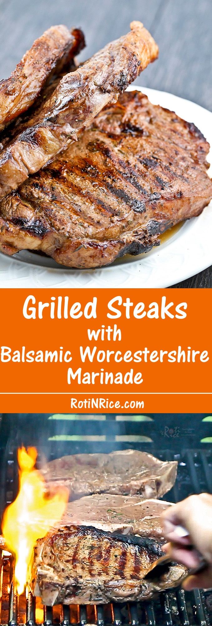 Use any cut of meat for these Grilled Steaks with Balsamic Worcestershire Marinade. They are tender, juicy, and absolutely flavorful. | Food to gladden the heart at RotiNRice.com