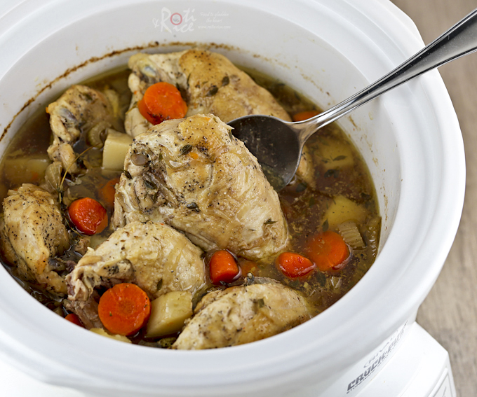 This Slow Cooker Chicken Stew is an all season comfort food complete with carrots, celery, and potatoes. Delicious with crusty bread or rice. | RotiNRice.com