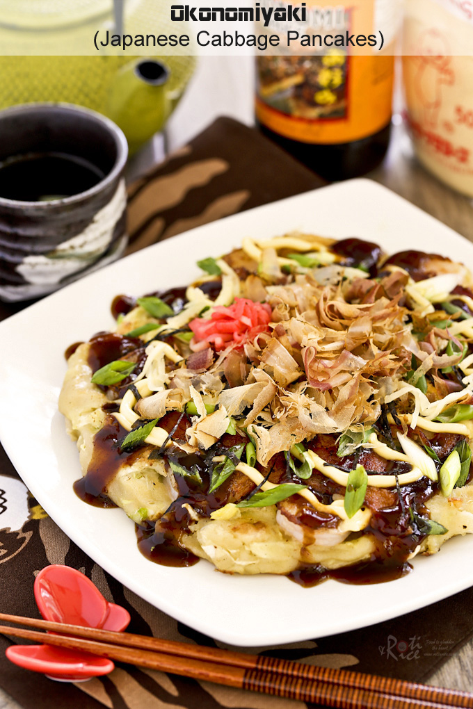 Okonomiyaki, savory Japanese Cabbage Pancakes topped with shrimps ...