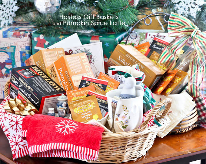 Hostess Gift Baskets and Pumpkin Spice Latte - a tutorial on how to create last minute holiday hostess gift baskets while enjoying a warm cup of latte. | RotiNRice.com