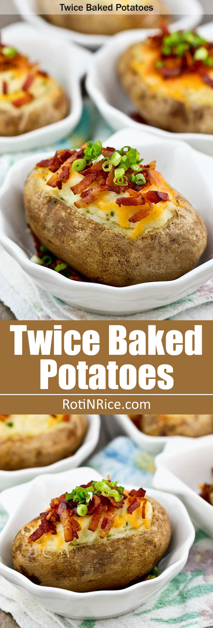 Extra yummy sour cream Twice Baked Potatoes topped with melted cheese, crispy bacon, and green onions. It is the perfect side dish! | RotiNRice.com