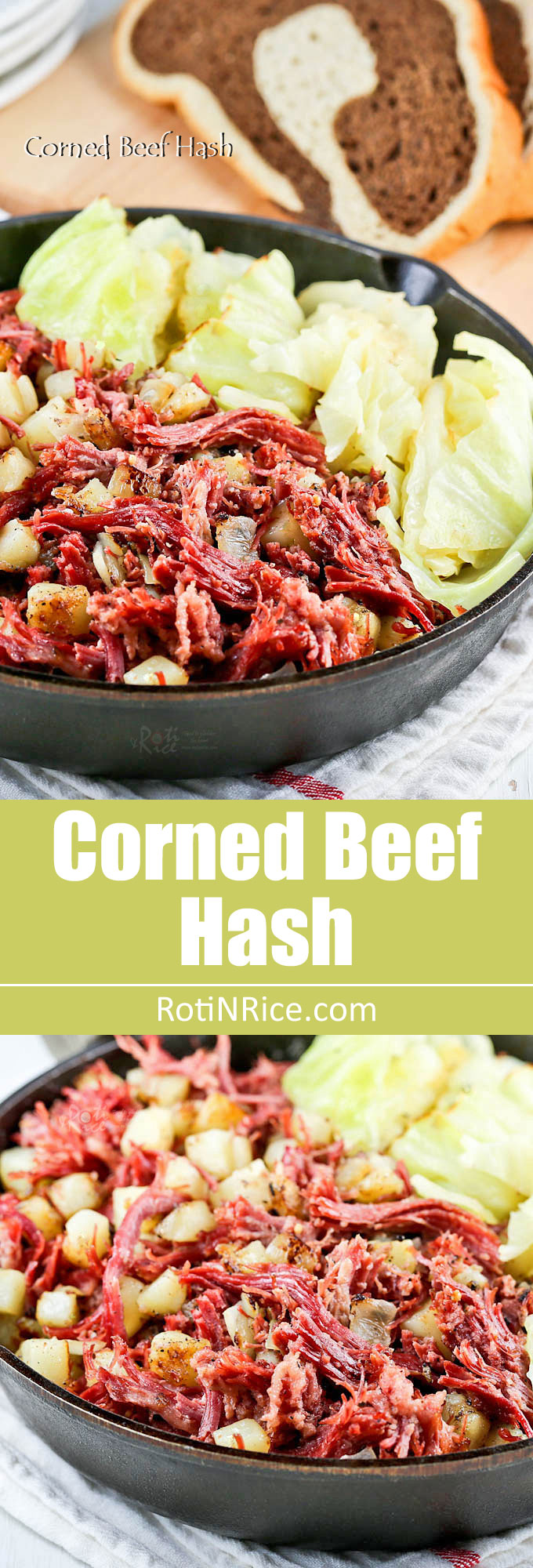 Corned Beef Hash - a delicious combination of tender shredded corned beef, potatoes, onions, and pan braised cabbage wedges. | RotiNRice.com
