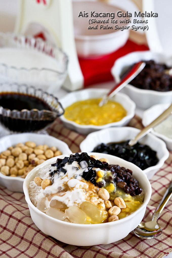Ais Kacang Gula Melaka (Shaved Ice with Beans and Palm Sugar Syrup) - a Malaysian dessert with a medley of toppings. Very cool and refreshing on a warm day. | RotiNRice.com