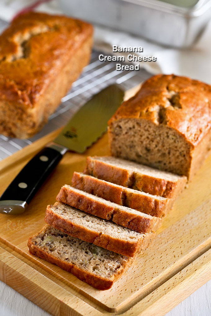Cream cheese gives this Banana Cream Cheese Bread an even and tender texture. Very moist and deliciously satisfying. Great any time of the day. | RotiNRice.com