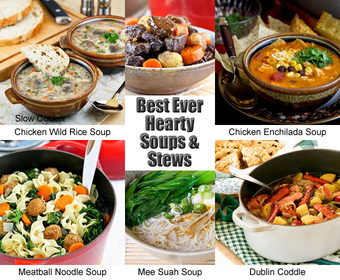 A collection of the Best Ever Hearty Soups and Stews on the blog with heart and belly warming dishes for cooler days and colder months. | RotiNRice.com