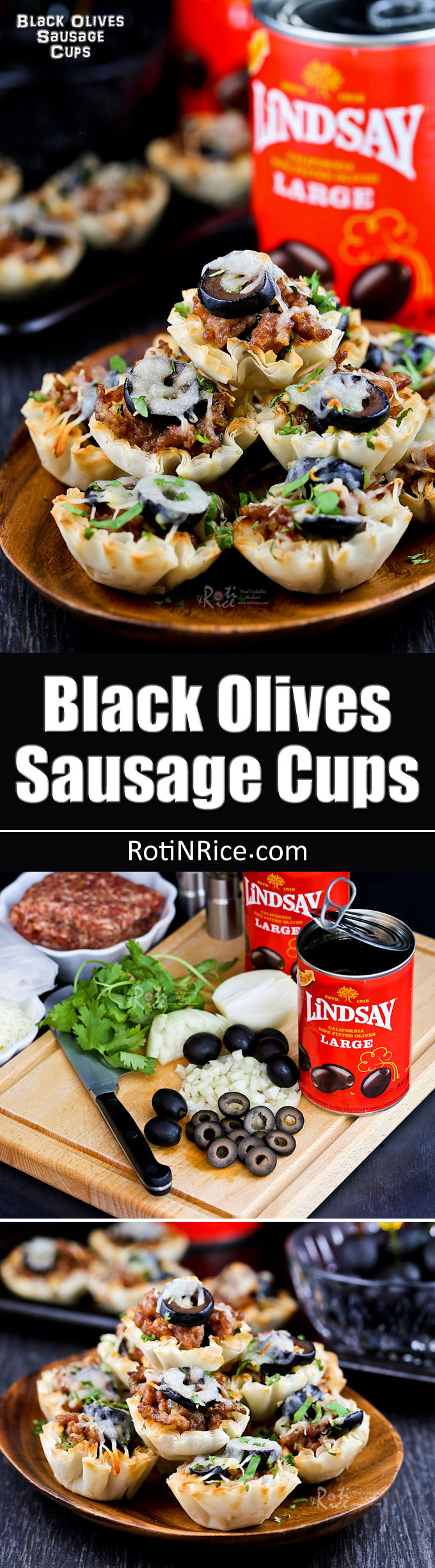 These tasty Black Olives Sausage Cups are the perfect appetizers for Game Day or any social gathering. Very quick and easy to prepare. #TeamLindsay #GameDayMoment #ad #sponsored | RotiNRice.com