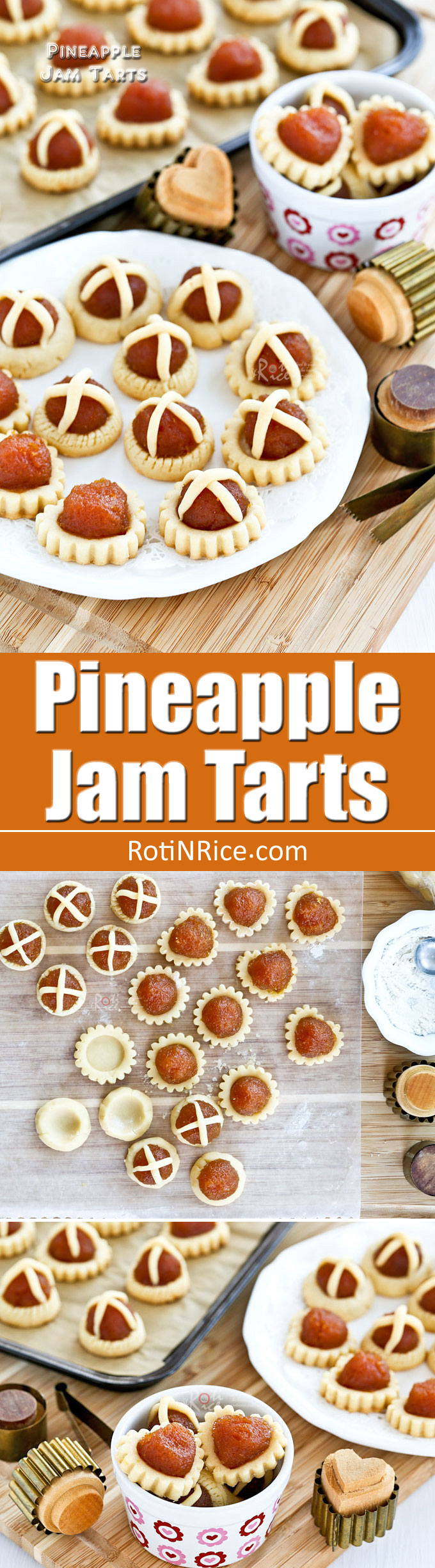 The best ever Pineapple Jam Tarts with a crumbly sandy crust and golden homemade pineapple jam. Totally irresistible and a must-try for special occasions. | RotiNRice.com