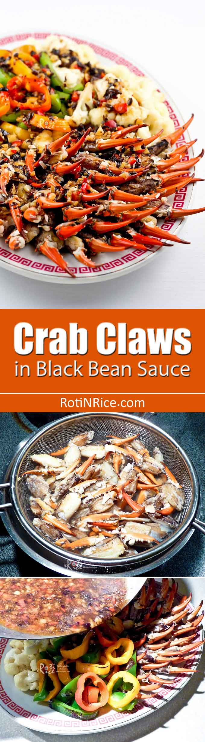 Fermented black beans give this Crab Claws in Black Bean Sauce great flavor. Add veggies to make it into a main dish delicious served with rice or noodles. | RotiNRice.com