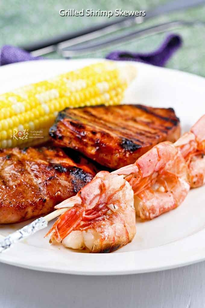These quick and easy Grilled Shrimp Skewers take only minutes to prepare. They are perfect as finger food or appetizer for any barbecue cookout. | RotiNRice.com
