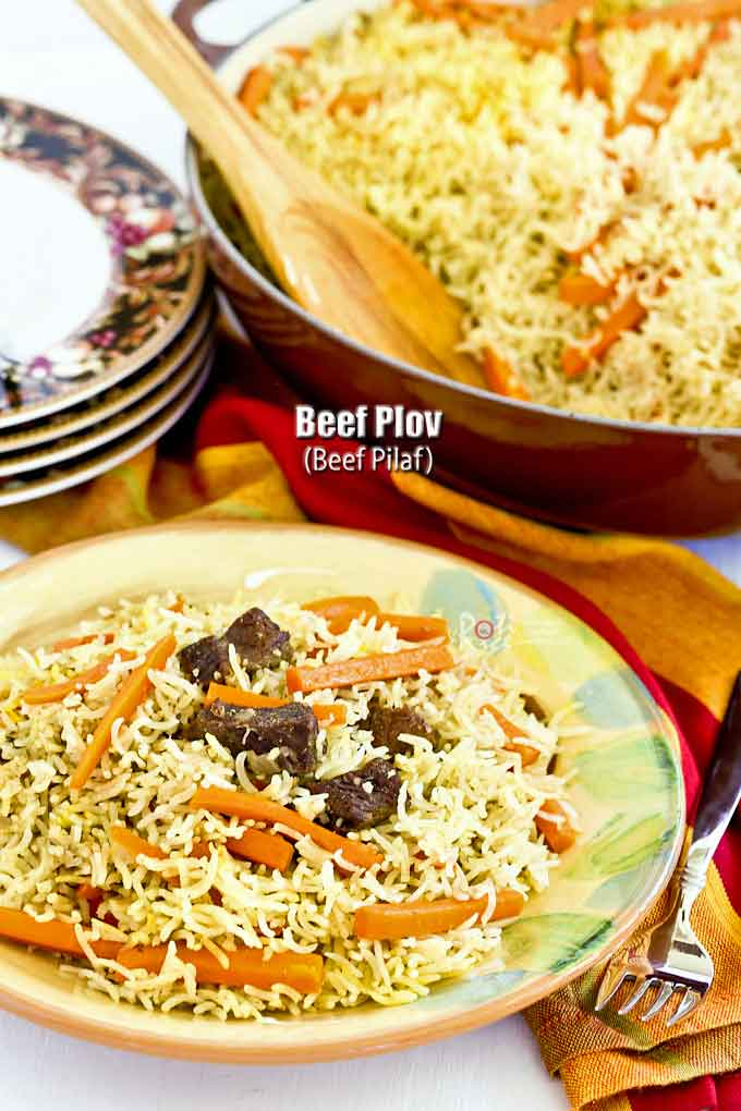 Beef Plov (Beef Pilaf) is a delicious pilaf layered with beef, carrots, and spices. Originally an Uzbek dish but cooked and enjoyed throughout Central Asia. | RotiNRice.com