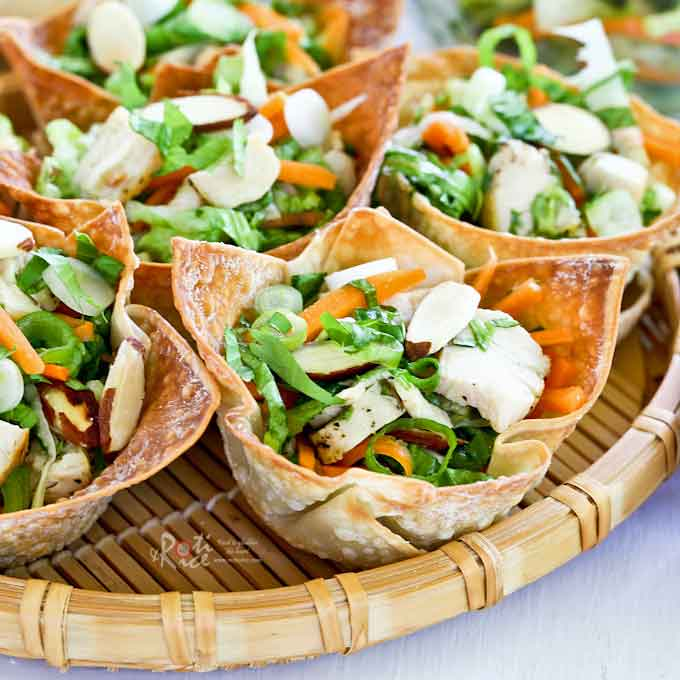 These easy to prepare Chinese Chicken Salad Cups are perfect for any social gathering. Watch them disappear as they will be everyone's favorite appetizer.   RotiNrice.com