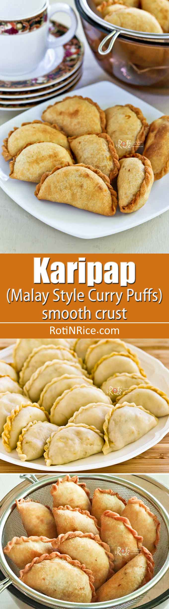These vegetarian Karipap (Malay Style Curry Puffs) with curried potato filling are a popular Malaysian snack. This version comes with a smooth flaky crust. | RotiNRice.com